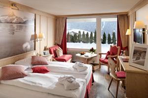 Twin room with Eiger view